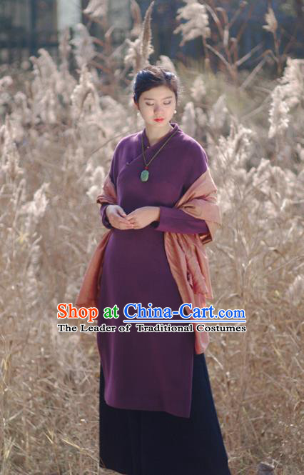 Asian China National Costume Hanfu Slant Opening Purple Woolen Qipao Dress, Traditional Chinese Tang Suit Cheongsam Clothing for Women