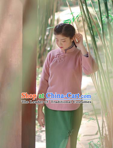 Asian China National Costume Hanfu Slant Opening Pink Woolen Qipao Blouse, Traditional Chinese Tang Suit Cheongsam Shirts Clothing for Women
