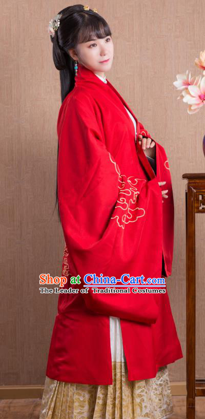Asian China Ming Dynasty Princess Costume Wide Sleeve Cardigan, Traditional Ancient Chinese Palace Lady Embroidered Hanfu Red Cape Clothing for Women