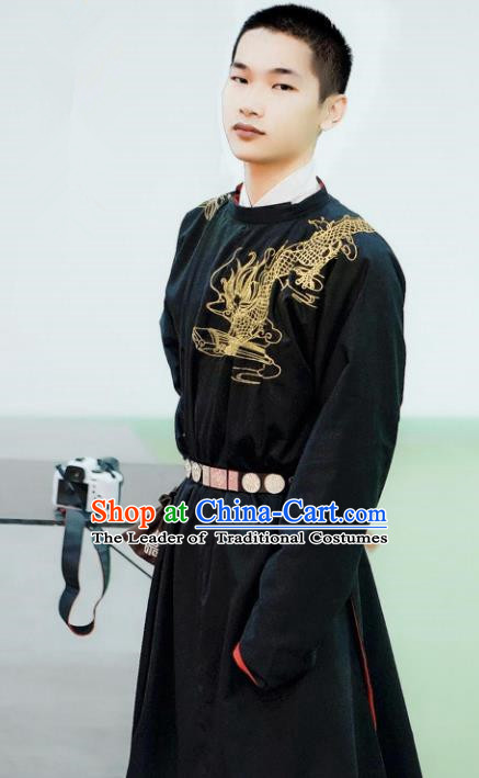 Asian China Tang Dynasty Swordsman Costume Black Robe, Traditional Ancient Chinese Imperial Bodyguard Embroidered Clothing for Men