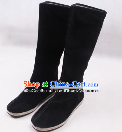 Asian Chinese Shoes Black Cloth Shoes Officer Boots, Traditional China Handmade Hanfu Shoes for Men