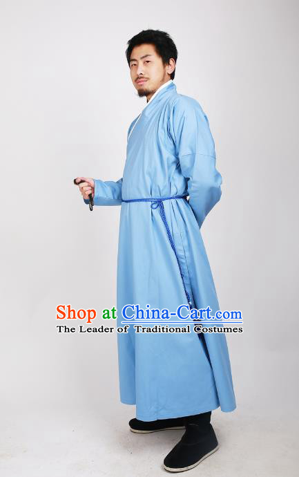 Asian China Ming Dynasty Swordsman Costume Blue Robe, Traditional Ancient Chinese Imperial Bodyguard Clothing for Men