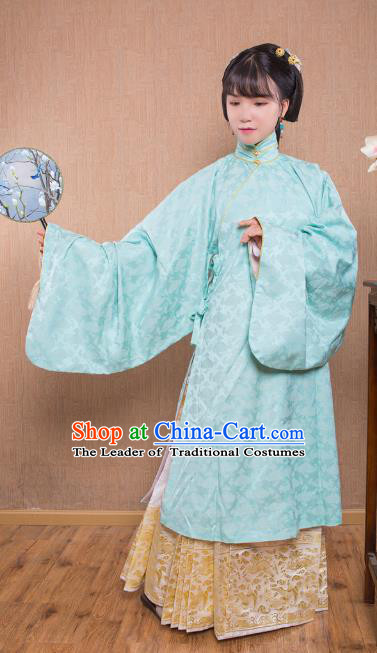 Asian China Ming Dynasty Princess Costume Blue Robe, Traditional Ancient Chinese Palace Lady Embroidered Hanfu Clothing for Women