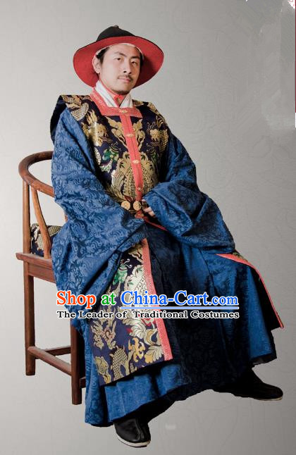 Asian China Ming Dynasty Swordsman Costume Blue Brocade Vest, Traditional Ancient Chinese Imperial Emperor Waistcoat Clothing for Men