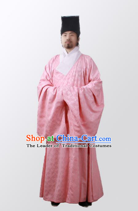 Asian China Ming Dynasty Minister Costume Pink Robe, Traditional Ancient Chinese Chancellor Hanfu Clothing for Men