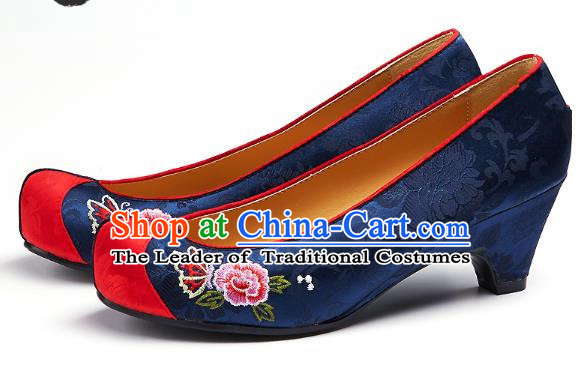 Traditional Korean National Embroidered Shoes, Asian Korean Hanbok Navy Wedding Shoes for Women