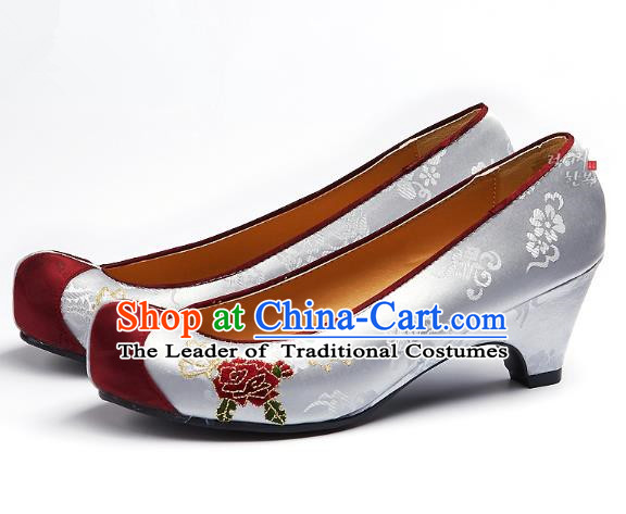 Traditional Korean National Embroidered Shoes, Asian Korean Hanbok Grey Wedding Shoes for Women