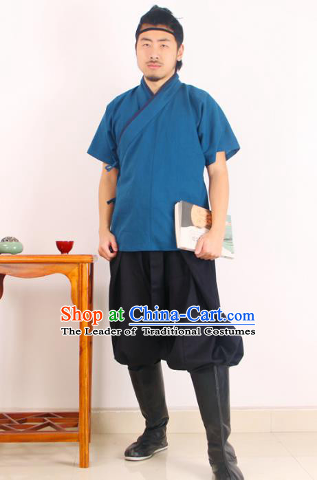 Asian China Ming Dynasty Swordsman Costume Blue Shirts, Traditional Ancient Chinese Hanfu Clothing for Men