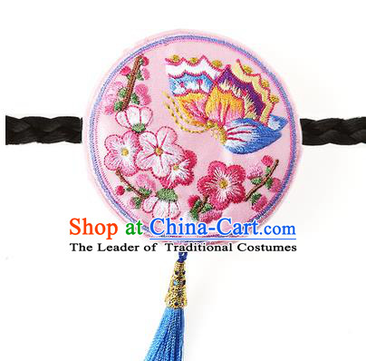 Traditional Korean Hair Accessories Embroidered Butterfly Pink Hair Clasp, Asian Korean Fashion Headwear Headband for Kids
