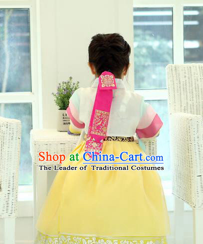 Traditional Korean Hair Accessories Embroidered Pink Hair Ribbon, Asian Korean Fashion Headwear Wedding Headband for Kids