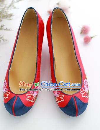Traditional Korean National Embroidered Shoes, Asian Korean Hanbok Red Wedding Shoes for Women