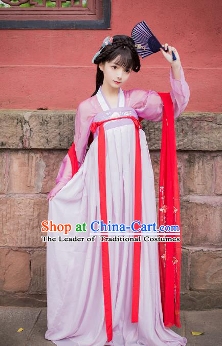 Asian China Tang Dynasty Princess Costume, Traditional Ancient Chinese Palace Lady Embroidered Hanfu Slip Skirt Clothing for Women