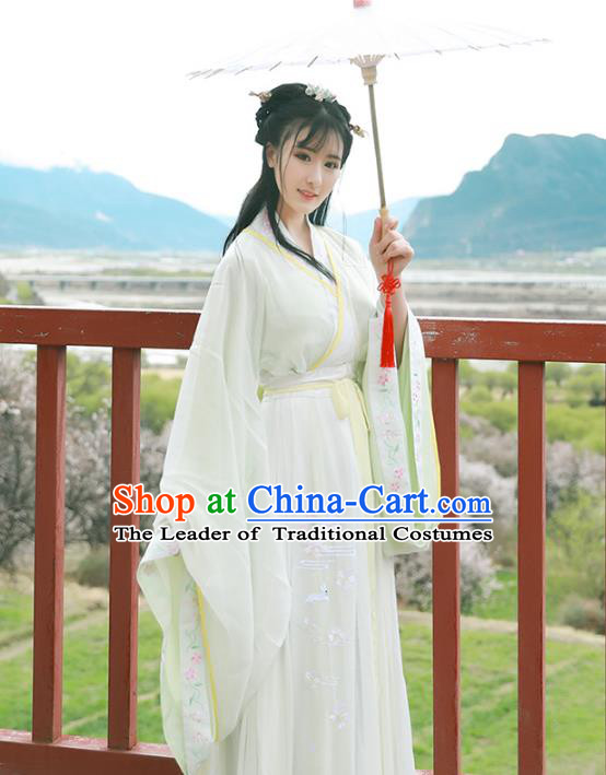 Asian China Han Dynasty Princess Costume Blouse and Skirt, Traditional Ancient Chinese Palace Lady Hanfu Embroidered Clothing for Women