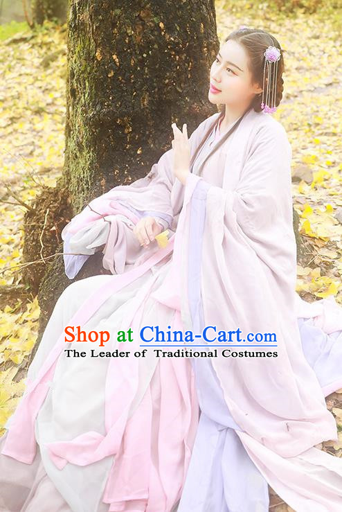 Asian China Jin Dynasty Imperial Princess Costume, Traditional Ancient Chinese Palace Lady Hanfu Embroidered Clothing for Women