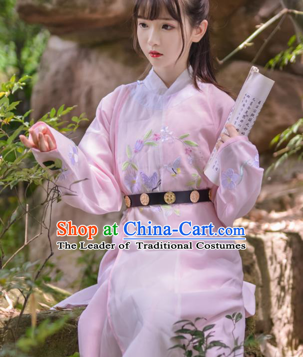 Asian China Tang Dynasty Kawaler Costume Pink Robe, Traditional Ancient Chinese Swordsman Hanfu Embroidered Clothing for Women