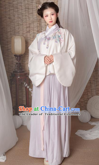 Asian China Ming Dynasty Imperial Princess Costume, Traditional Ancient Chinese Hanfu Embroidered Clothing for Women