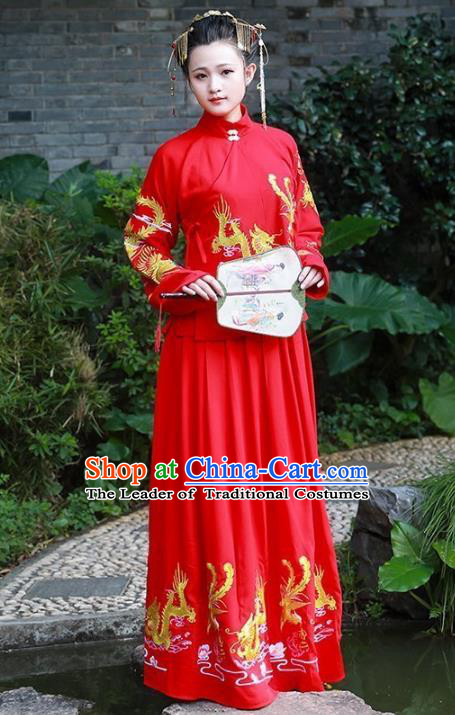 Asian China Ming Dynasty Palace Lady Wedding Costume, Traditional Ancient Chinese Imperial Princess Hanfu Embroidered Red Clothing for Women