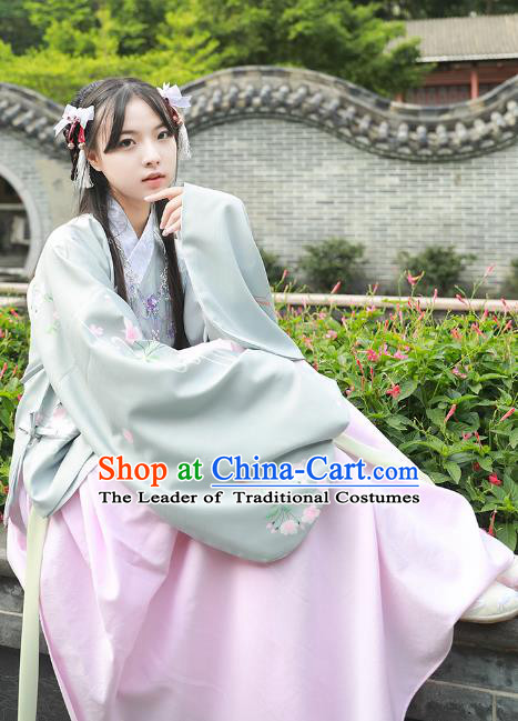 Asian China Ming Dynasty Palace Lady Costume Slant Opening Blouse, Traditional Ancient Chinese Princess Hanfu Embroidered Clothing for Women