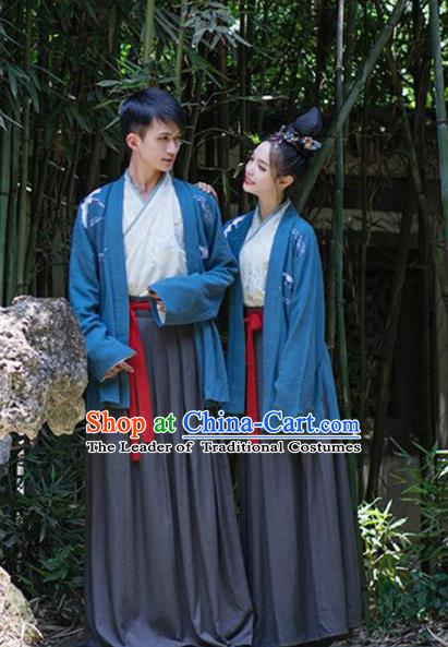 Asian China Han Dynasty Costume Blue BeiZi, Traditional Ancient Chinese Hanfu Embroidered Clothing for Women for Men