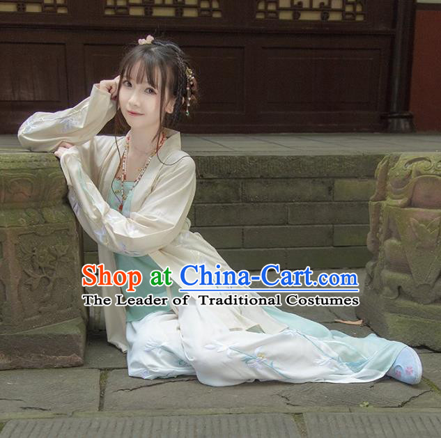 Asian China Song Dynasty Young Lady Costume, Traditional Ancient Chinese Hanfu Blouse and Pants Clothing for Women