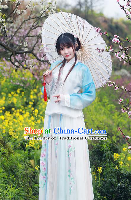 Asian China Ming Dynasty Palace Lady Costume Complete Set, Traditional Ancient Chinese Imperial Princess Hanfu Embroidered Clothing for Women
