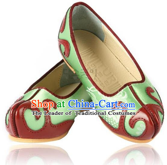 Traditional Korean National Embroidered Green Shoes, Asian Korean Hanbok Children Shoes for Boys