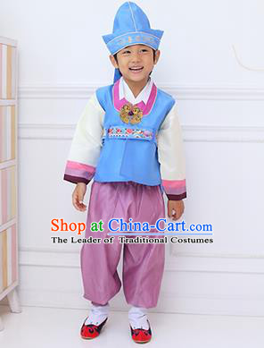 Traditional Korean Handmade Hanbok Embroidered Boy Blue Clothing, Asian Korean Fashion Apparel Hanbok Embroidery Costume for Kids