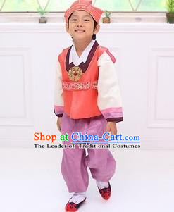 Traditional Korean Handmade Hanbok Embroidered Boy Orange Clothing, Asian Korean Fashion Apparel Hanbok Embroidery Costume for Kids