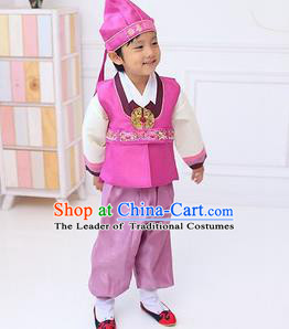 Traditional Korean Handmade Hanbok Embroidered Boy Pink Clothing, Asian Korean Fashion Apparel Hanbok Embroidery Costume for Kids