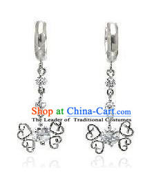 Traditional Korean Accessories Sliver Crystal Earrings, Asian Korean Fashion Wedding Tassel Eardrop for Women