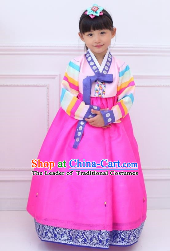 Traditional Korean Handmade Hanbok Embroidered Girls Clothing, Asian Korean Fashion Apparel Hanbok Embroidery Pink Dress Costume for Kids