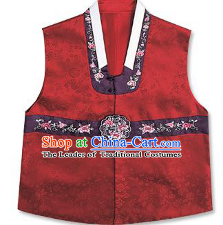 Traditional Korean Handmade Hanbok Embroidered Red Vest, Asian Korean Apparel Hanbok Embroidery Bridegroom Waistcoat for Men