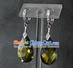 Traditional Korean Accessories Asian Korean Fashion Wedding Green Crystal Earrings for Women