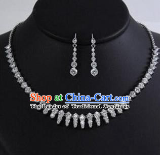 Traditional Korean Accessories Asian Korean Fashion Wedding Crystal Necklace and Earrings Complete Set for Women