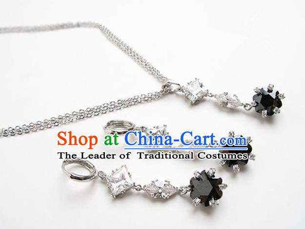 Traditional Korean Accessories Asian Korean Fashion Wedding Black Crystal Necklace and Earrings Complete Set for Women