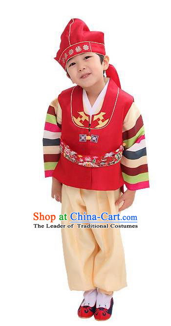 Traditional Korean Handmade Hanbok Embroidered Red Clothing, Asian Korean Apparel Hanbok Embroidery Bridegroom Costume for Kids