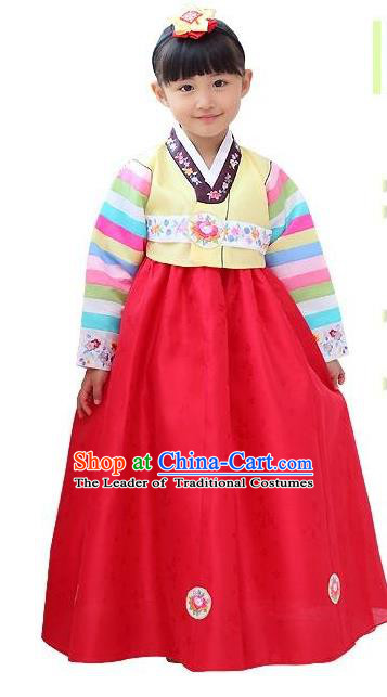 Traditional Korean National Girls Handmade Court Embroidered Clothing, Asian Korean Apparel Hanbok Embroidery Yellow Blouse Costume for Kids