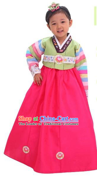 Traditional Korean National Girls Handmade Court Embroidered Clothing, Asian Korean Apparel Hanbok Embroidery Green Blouse Costume for Kids