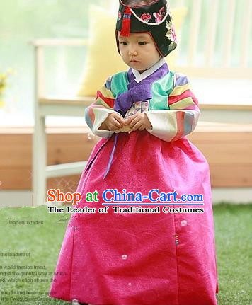 Traditional Korean Handmade Court Hanbok Embroidered Clothing, Asian Korean Apparel Hanbok Embroidery Costume for Kids