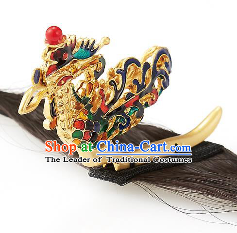 Traditional Korean Hair Accessories Bride Phoenix Hair Claw, Asian Korean Fashion Wedding Golden Hair Decorations for Kids