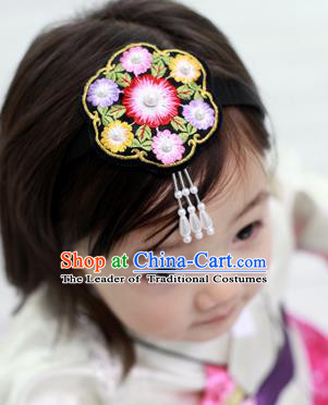 Traditional Korean Hair Accessories Embroidered Hair Clasp, Asian Korean Fashion Headwear for Kids
