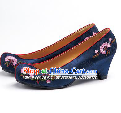 Traditional Korean National Navy Embroidered Shoes, Asian Korean Hanbok Bride High-heeled Shoes for Women