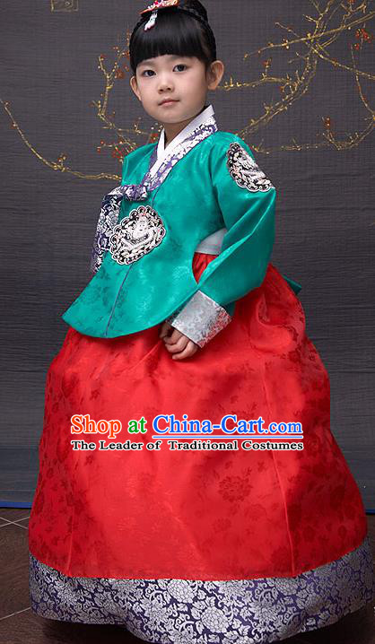 Traditional Korean National Top Grade Handmade Court Embroidered Clothing, Asian Korean Bride Hanbok Green Blouse and Red Dress for Kids