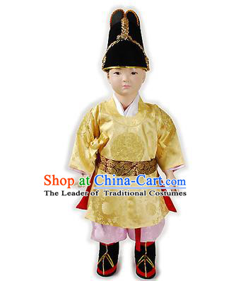 Traditional Korean National Handmade Court Embroidered Costume Boys Emperor Yellow Robe, Asian Korean Hanbok Clothing for Kids