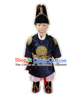 Traditional Korean National Handmade Court Embroidered Costume Boys Emperor Navy Robe, Asian Korean Hanbok Clothing for Kids