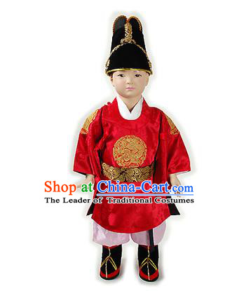Traditional Korean National Handmade Court Embroidered Costume Boys Emperor Red Robe, Asian Korean Hanbok Clothing for Kids
