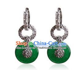 Traditional Korean Accessories Jadeite Crystal Earrings, Asian Korean Fashion Wedding Tassel Eardrop for Women