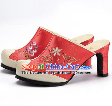 Traditional Korean National Wedding Watermelon Red Embroidered Shoes, Asian Korean Hanbok Bride High-heeled Shoes for Women