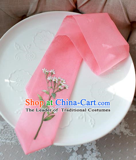 Traditional Korean Hair Accessories Embroidered Pink Hair Ribbon, Asian Korean Fashion Wedding Headband for Kids