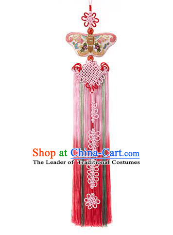 Traditional Korean Accessories Embroidered Butterfly Waist Pendant, Asian Korean Fashion Wedding Pink Tassel Waist Decorations for Women